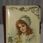 """Victorian Celluloid Photo Album with Brundage """"Green Bonnet"""" Young Girl"""