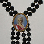 """Exquisite """"Original by Robert"""" Jet Black Faceted HP Cameo Necklace w/Beautiful Woman"""