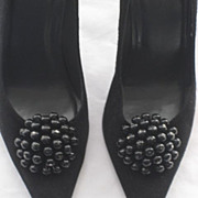 "Stuart Weitzman Suede & Patent Stiletto Shoes with 4"" Heels & Beaded Shoe Clips-Size 7 ½ M-Never Used"