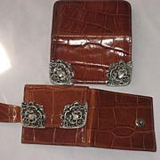 2 Piece 1980's Ann Turk Moc Croc Leather Wallet & Card Holder w/Ornate Pewter Trim