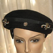 Vintage Black Wool Felt Poss. Beaver Hat/Tam w/Five Ornate Metallic & Faux Pearl Appliqués
