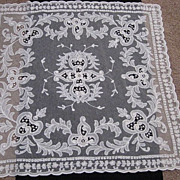 1930's Creamy White Tambour Net Lace Table Topper w/Organdy Insets-1 of 2