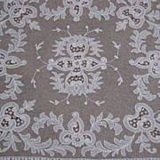 1930's Creamy White Tambour Net Lace Table Topper with Organdy Insets-2 of 2