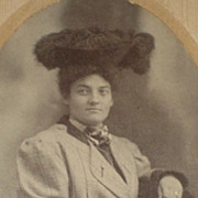 Victorian Cabinet Card of Woman Wearing Black Ostrich Feather Hat