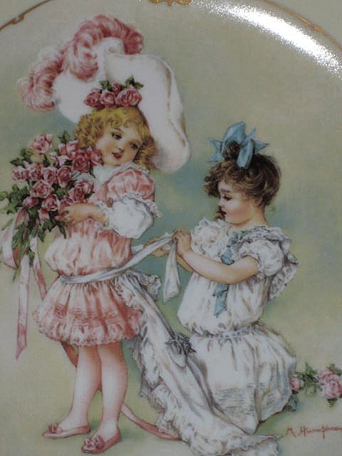 """Maud Humphrey """"Playing Bridesmaid"""" Porcelain Collector Plate-1989-The Hamilton Collection"""