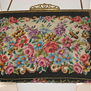 Vintage Black Floral Petit Point Purse