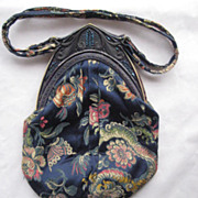 1920's Celluloid Carnival Glass Jeweled Frame w/Chinese Silk Purse and Tassel