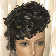 1940's Black Curly Feathered Tilt Top Hat
