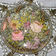 Victorian Glass Domed Magnifier Paper Weight with French Ribbon Work & Winged Cherub