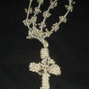 Vintage Wax Wedding Crucifix/Cross Necklace w/Long Wax Double Strands