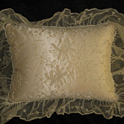 Pair 1930's Tambour Net Lace Ecru Pillows with Satin Inserts