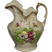 Antique Vintage Alba China Hand Painted Porcelain Pitcher with Pansies & Gold Gilt