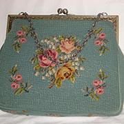 Vintage Aqua Petit Point & Needlepoint Roses Purse-2 Sided