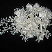 Vintage Wax Wedding Bouquet with Seven Glass Flowers & Satin Ribbon