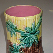 Antique Majolica Griffen, Smith, Hill Etruscan Bamboo Spooner 1880's