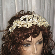 Antique Wax Wedding Tiara with Silvery Wax Buds & Fabric Flowers
