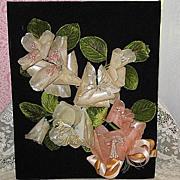 2DIE4-Vintage Wax Floral Wedding, Bridal Bouquet on Black Velveteen