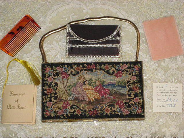 RARE Vintage Schildkraut Handmade Petit Point Carryall w/Original Booklet & Paperwork-NEVER USED