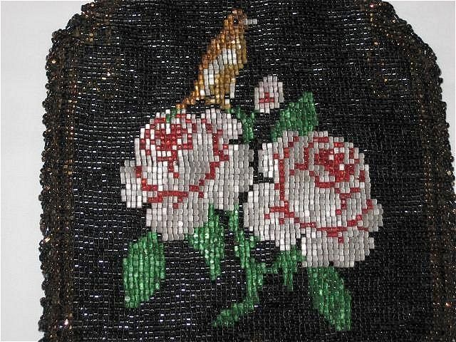 Vintage Dbl Sided Hand Beaded Purse w/ROSES, BIRD, FRINGE