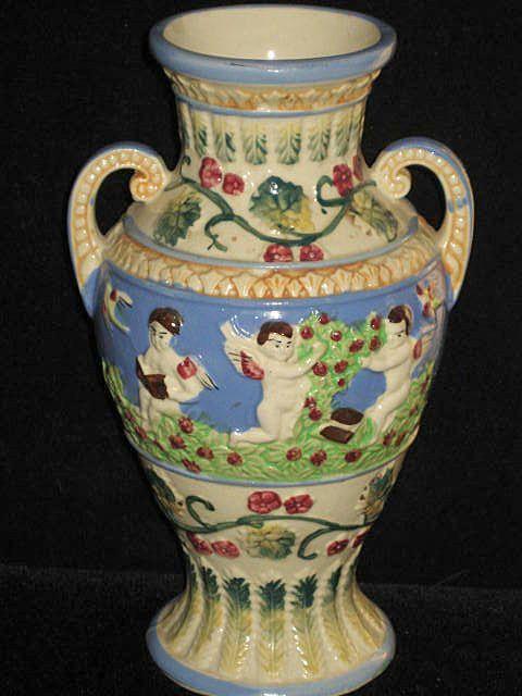 Vintage Two Handled Vase with Five Winged Cherubs, Birds & Flowers
