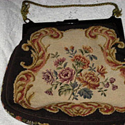 Large Vintage Needlepoint Purse w/Petit Point Floral Detail-Double Sided