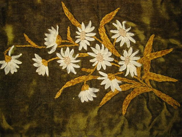Victorian Velvet Lingerie Bag with Chenille & Silk Flowers