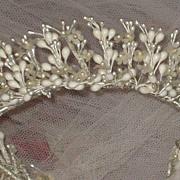Vintage C. 30's Round Wax Wedding Tiara Crown & Veil w/Fabric Flowers
