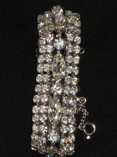 Exceptional Vintage 5 Row Prong Set Rhinestone Bracelet w/Safety Catch
