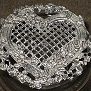 Pretty 1987 Glass Jar w/Ornate Heart Shaped Silver Metal Roses/Filigree Top