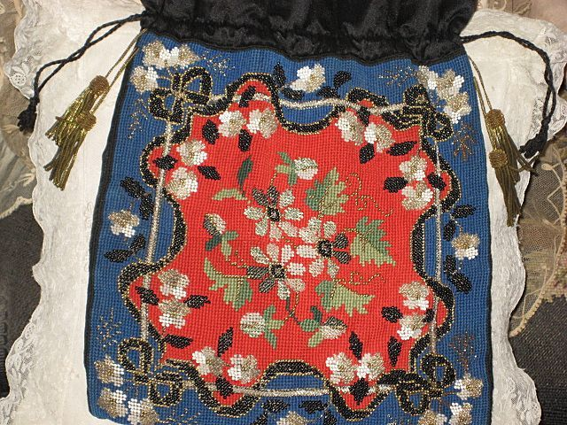 Antique Floral Beaded & Needlepoint Purse w/4 French Metallic Tassels-Mint Condition