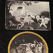 2 Piece Antique 1890's Prints; Cherubs, Lady Print & Lady Print with Plastic Cover