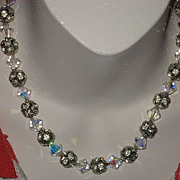 Vintage Rhinestone & Iridescent Beaded Choker Necklace