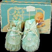 Darling Vintage Silk Booties in Box