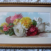 c1895 Chrysanthemums Print Paul de Longpre Fall Beauties Half Yard Long Chromolithograph Flower Floral deLongpre