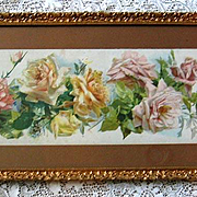 c1895 Catherine Klein Cabbage Roses Yard Long Print A Shower of Roses Original Frame Glass Intact Chromolithograph Rose Flower Floral