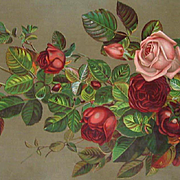 c1890s Cabbage Roses Yard Long Print McCullough Soap Linen Chromolithograph