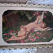 c1902 French Cupid Print Lenoir The Awakening of Love Fairy Angel Cherub Roses Antique Victorian