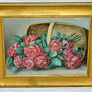 Antique Cabbage Roses Painting taken after Paul de Longpre A Basket of Beauties