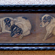 Three Puppy Yard Long Oil Painting Jack Russell Terrier Panel Original Frame Dog Dogs Puppy Animal