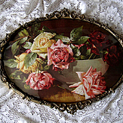 Dangon Cabbage Roses Print Antique Oval Brass Frame Convex Glass Cabbage Rose