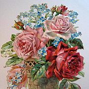 c1890s Cabbage Roses Die Cut Roses Print Rose Forget Me Not Lily of the Valley Flower Floral Diecut Antique Victorian