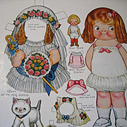 c1916 Dolly Dingle Paper Doll Print Set with Doll and Kitten Uncut Queen of the May Roses Bride Costume Pussy Precious Grace Drayton