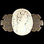 Vintage stone cameo brooch Victorian revival