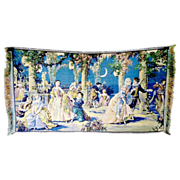 Vintage Belgium tapestry Victorian romance scene