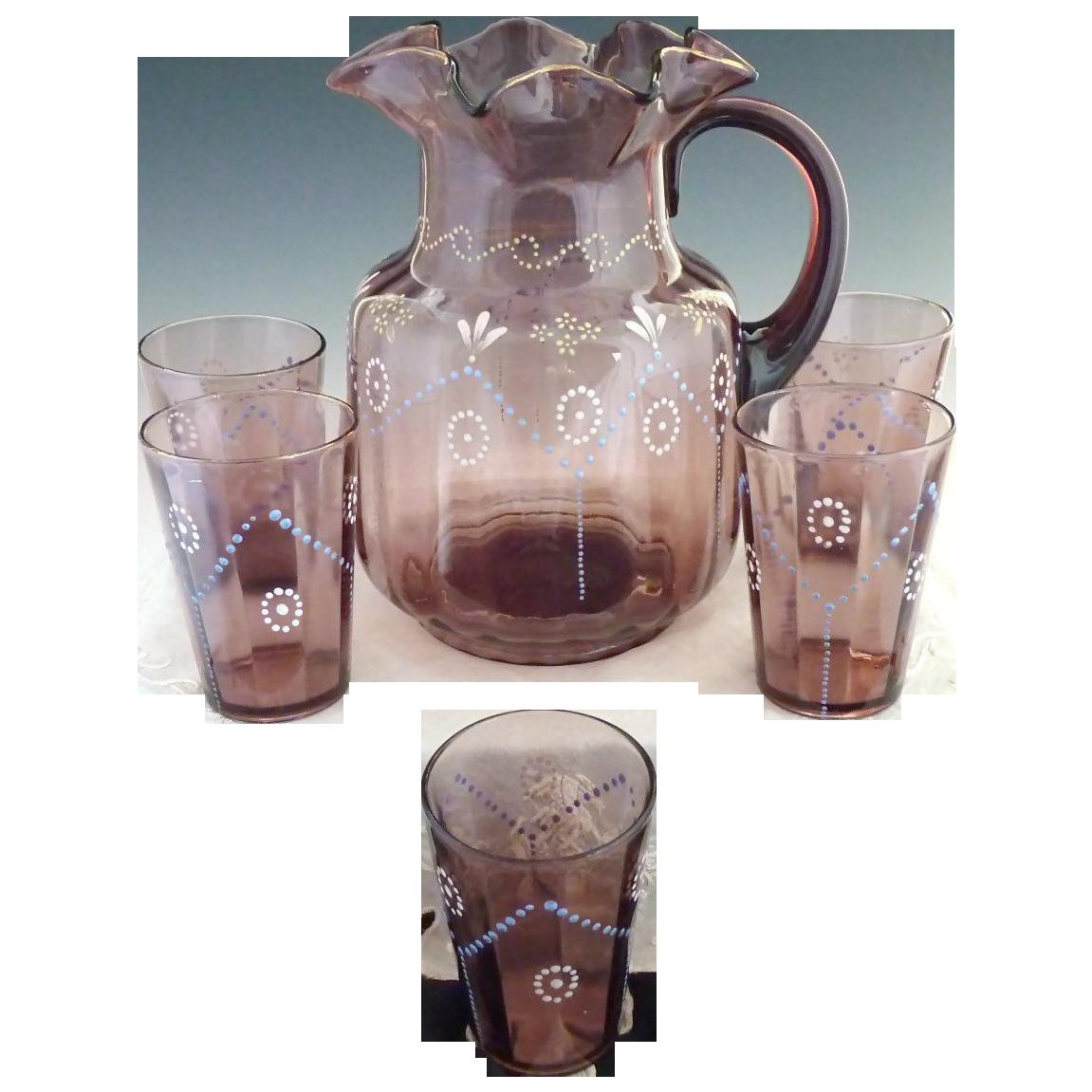 Antique amethyst glass pitcher glass set paneled hand enameling