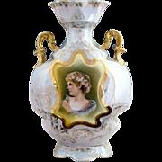 Antique porcelain portrait vase ES Prussia Woman in Daisy Crown gold