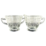Vintage glass creamer sugar Madrid pattern Indiana Glass