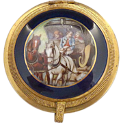 Austria Czech cobalt porcelain snuff box coach portrait brass mounts
