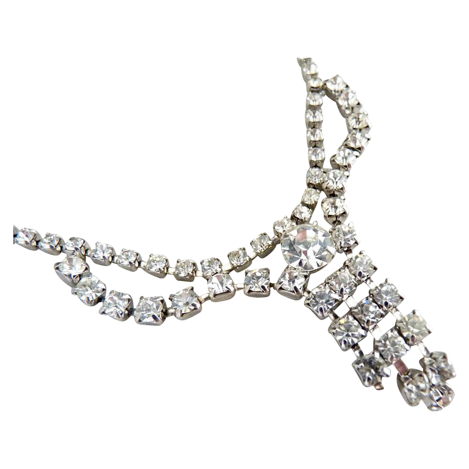 Vintage waterfall necklace crystal rhinestones wedding prom