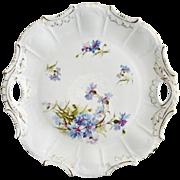 Antique porcelain cake plate bachelor button decor Victorian